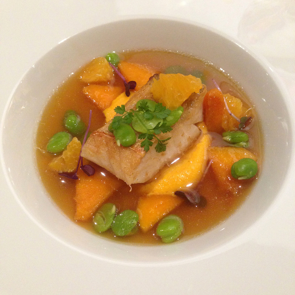 Pike Perch, Pumpkin, Clementine, Broad Beans
