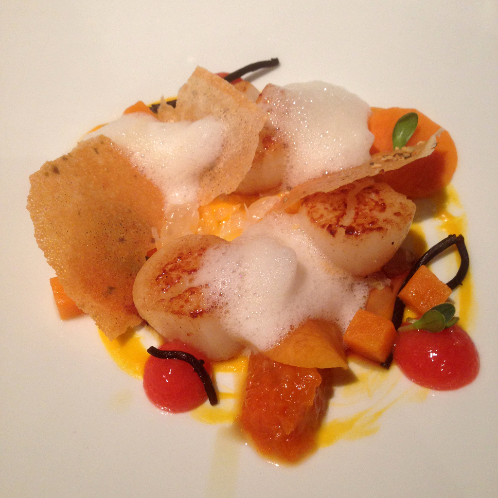 Scallops, butternut, ginger yuzu foam, citrus fruits, hijiki seaweed, brick chips