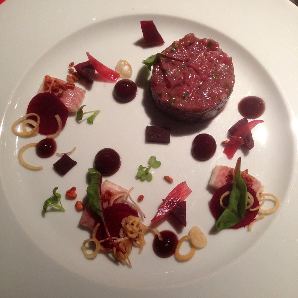Beef fillet tartar & smoked eel, beetroot, raspberry ponzu gel, shallot, crispy bulgur
