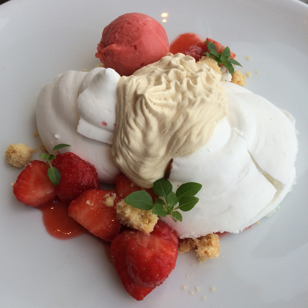 Strawberry Pavlova, Strawberry & Elderflower Sorbet